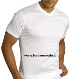 T-Shirt uomo Axiom manica corta con scollo a V alto in fresco filo di scozia