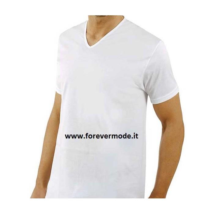 3 T-Shirt uomo Axiom manica corta con scollo a V largo in fresco filo di scozia