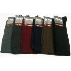 6 Paia di Calzettoni uomo Ciocca lunghi peso medio in pura lana a costa media