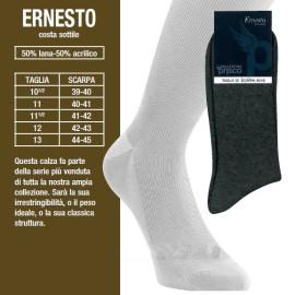 6 Calze calzini uomo Prisco corte in misto lana a costina 1/1
