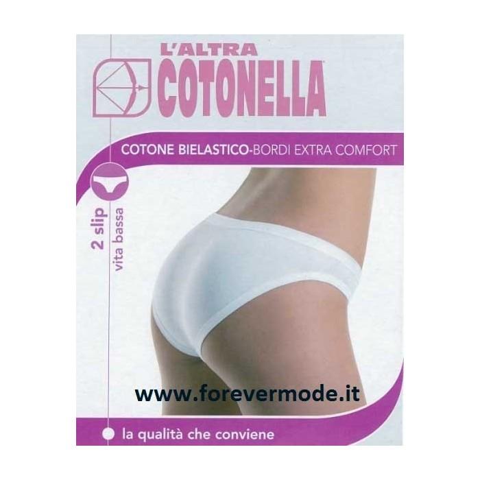 2 Slip donna Cotonella a vita bassa in cotone elasticizzato con elastici anti segno