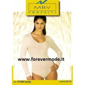 Body donna Emmebivi manica lunga lana seta con scollatura ampia