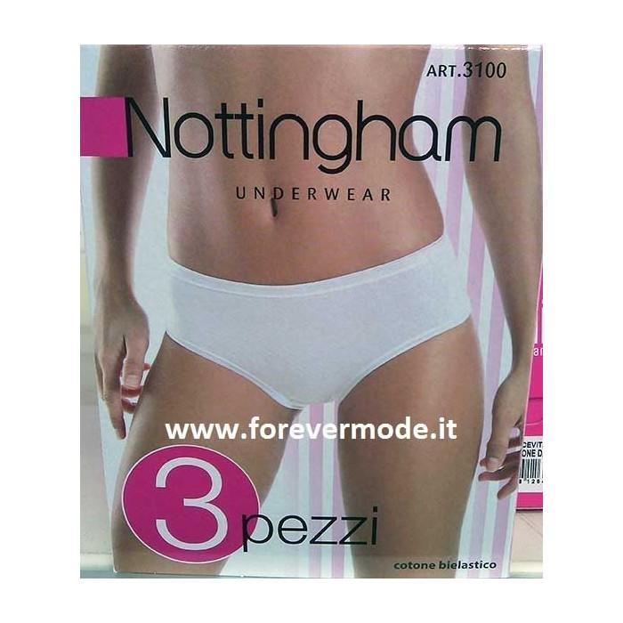 3 Slip donna Nottingham midi in morbido cotone bielastico