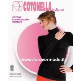 Maglia donna Cotonella manica lunga con collo dolce vita in cotone elasticizzato