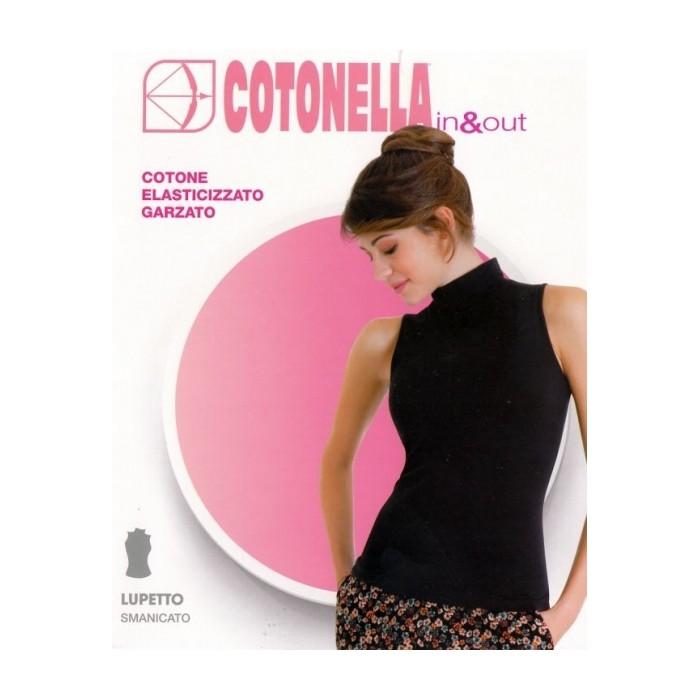 Maglia smanicata donna Cotonella a lupetto, cotone elasticizzato