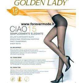 5 Collant donna Golden Lady elasticizzati e velati con corpino