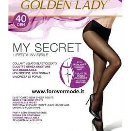 Collant donna Golden Lady My Secret 40 senza cuciture con corpino