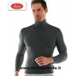 Maglia uomo Liabel collo dolcevita costina in misto lana liscio