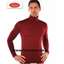 Maglia uomo Liabel manica lunga con collo dolcevita liscio in misto lana liscio