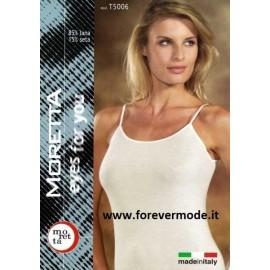 Canottiera donna Moretta a spalla stretta in lana e seta con profili in raso