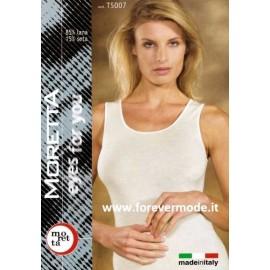 Canotta donna Moretta spalla larga lana seta con profili in raso