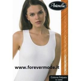 Canottiera donna Antonella in cotone felpato, profili in raso