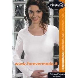 Maglia donna Antonella in cotone felpato con profili in raso