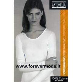 Maglia donna Antonella in cotone felpato con profili in cotone