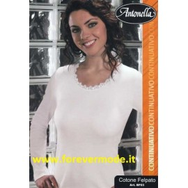 Maglia donna Antonella cotone felpato, profilo in pizzo macramè