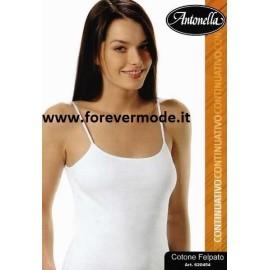 Canottiera donna Antonella in cotone, spallina e profili in raso