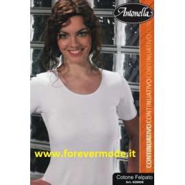 Maglia donna Antonella in cotone felpato con profilo in raso