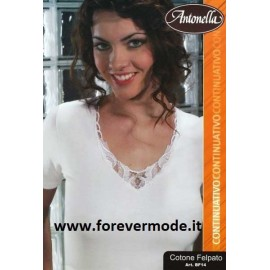 Maglia donna Antonella in cotone felpato con pizzi assortiti