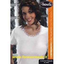 Maglia donna Antonella in cotone felpato, profilo pizzo macramè
