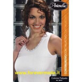 Canottiera donna Antonella in cotone felpato con pizzo macramè