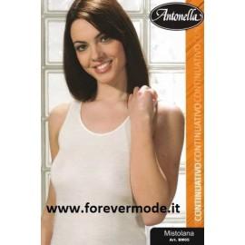 Canottiera donna Antonella in misto lana con profili in raso