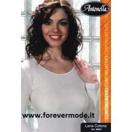 Maglia donna Antonella manica lunga in lana cotone con profili in raso