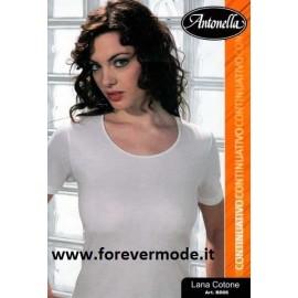 Maglia donna Antonella in lana cotone con profili in raso