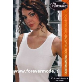 Canottiera donna Antonella in cotone felpato, profili in cotone