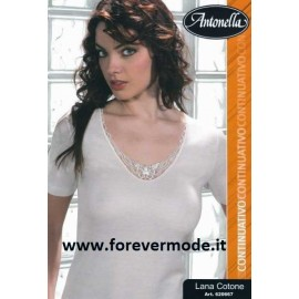 Maglia donna Antonella lana cotone con profilo in pizzo macramè