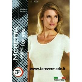 Maglia donna Moretta manica corta, lana seta, profili in raso
