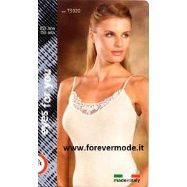 Canotta donna Moretta spalla fine in lana seta e pizzo macramè