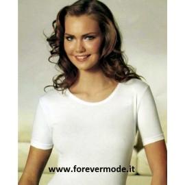 T-shirt maglia donna Nottingham girocollo in cotone bielastico