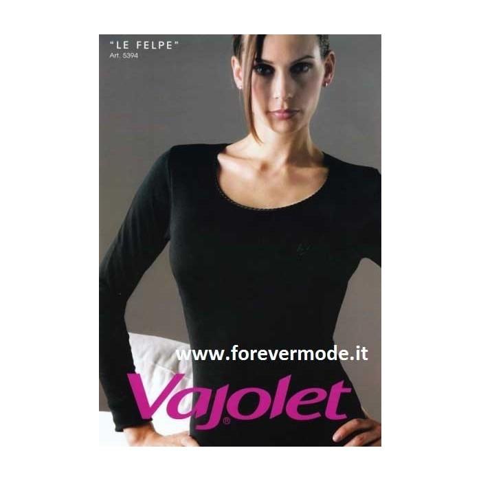 Maglia donna Vajolet manica lunga cotone felpato, profilo raso
