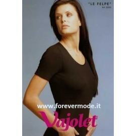 Maglia donna Vajolet in cotone felpato con girocollo in raso