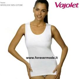 Canottiera donna Vajolet a spalla larga in cotone felpato con profili in raso