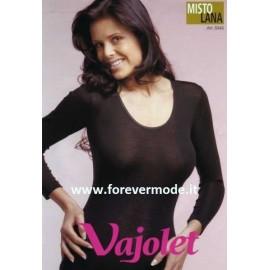 T-shirt donna Vajolet manica lunga in caldo misto lana con profilo raso