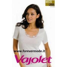 Maglia donna Vajolet in misto lana con bordo di pizzo macramè