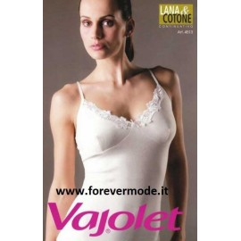 Canotta donna Vajolet lana cotone con pizzo macramè e forma seno