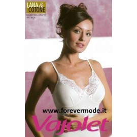Canottiera donna Vajolet a spalla stretta in lana e cotone con forma del seno e pizzo
