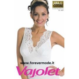 Canottiera donna Vajolet a spalla larga in lana e cotone con forma del seno e pizzo