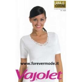 Maglia donna Vajolet lana cotone con profilo in pizzo macramè