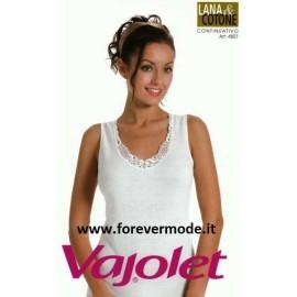 Canottiera donna Vajolet a spalla larga in lana e cotone con girocollo in pizzo