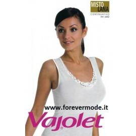 Canottiera donna Vajolet a spalla larga in misto lana con profilo in pizzo macramè