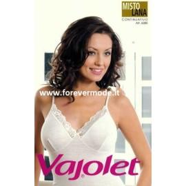 Canottiera donna Vajolet a spalla stretta in misto lana con forma del seno e pizzo