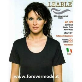 3 Maglie donna Leable manica corta in cotone caldo felpato con profili in raso