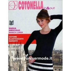 Maglia donna Cotonella manica lunga a girocollo in cotone garzato esternabile