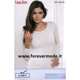 Maglia donna Emmebivi manica lunga, lana seta con bordi in raso