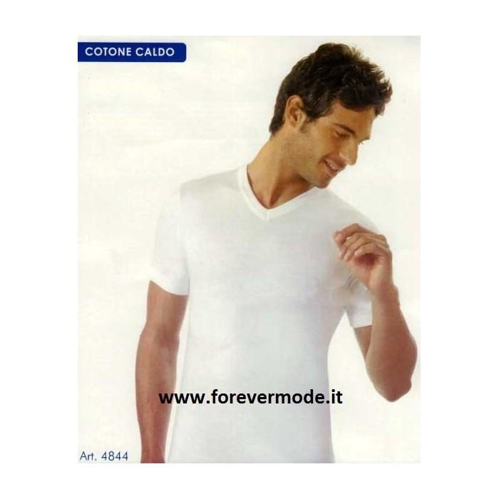 T-Shirt uomo Acquablu manica corta scollo a V in caldo cotone felpato invernale