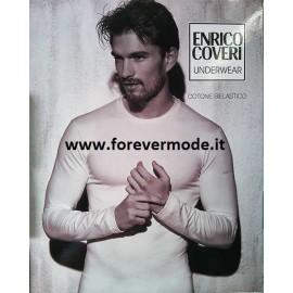 T-shirt uomo Coveri manica lunga a girocollo in cotone bi-elastico aderente