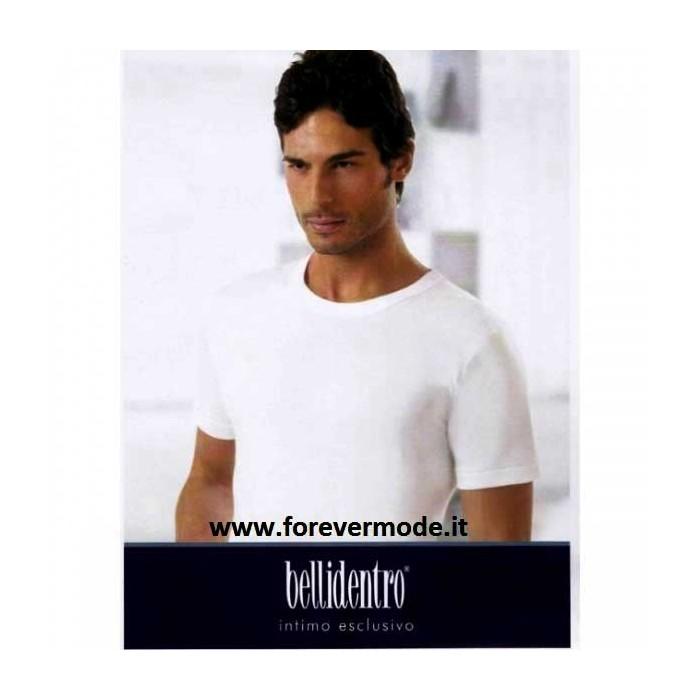 3 T-shirt uomo Bellidentro manica corta a girocollo con cotone sulla pelle e lana fuori